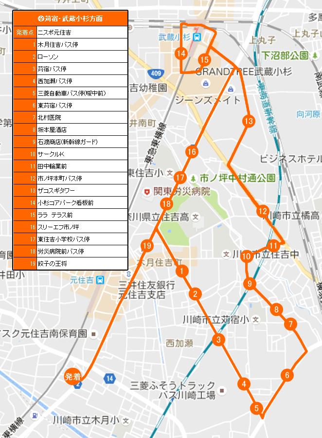 苅宿・武蔵小杉方面ルートの地図です。