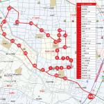 井田・下小田中方面ルートの地図です。